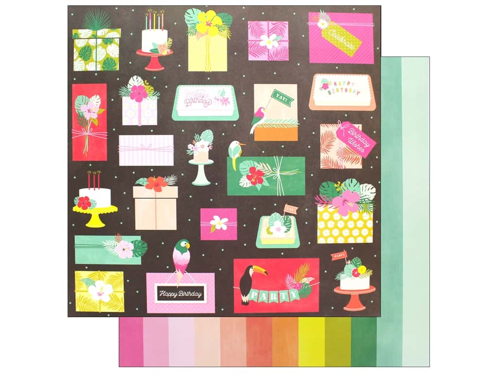Pink Paislee Collection Confetti Wishes Paper 12 in. x 12 in. Paper 7 (25 pieces)