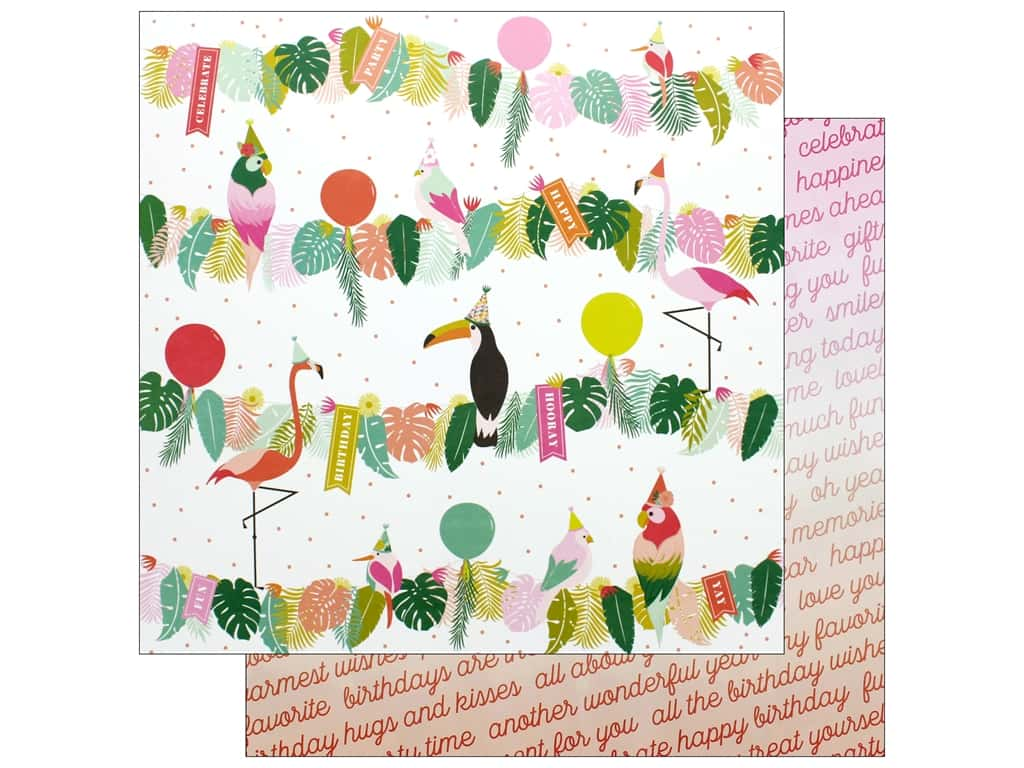 Pink Paislee Collection Confetti Wishes Paper 12 in. x 12 in. Paper 12 (25 pieces)