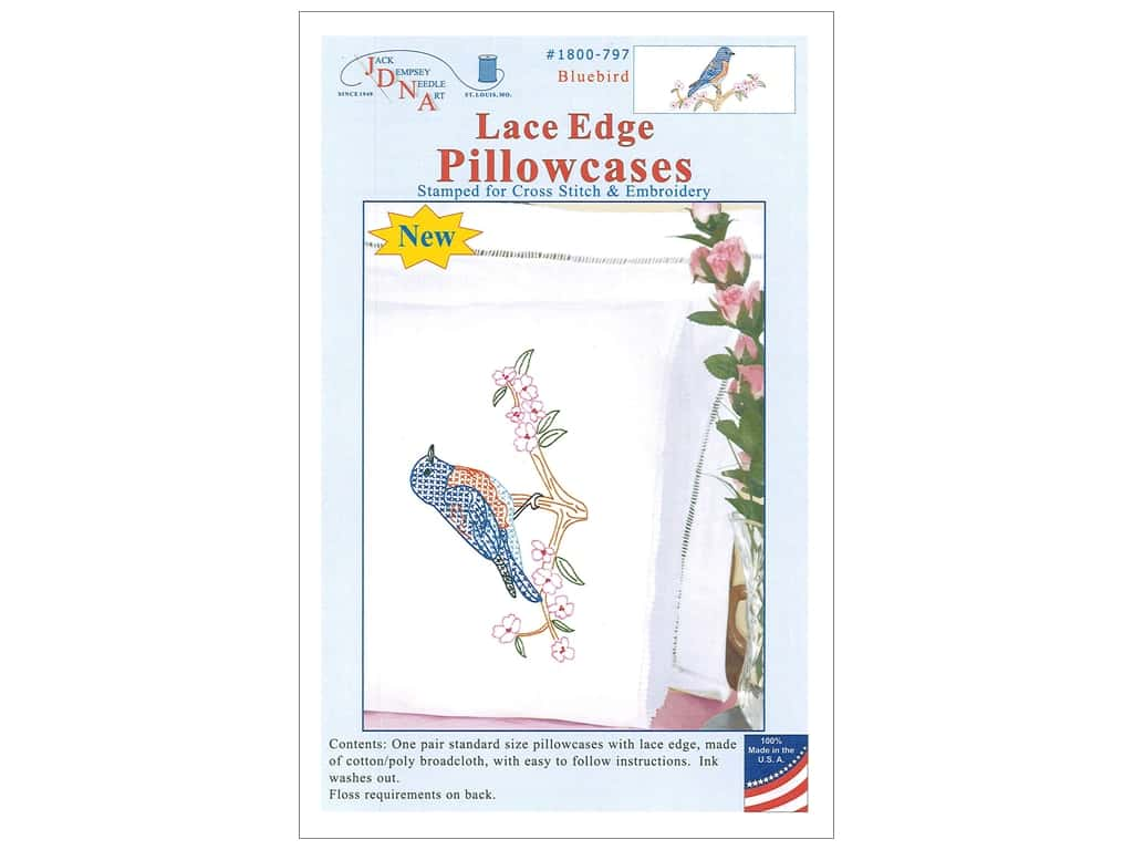 Jack Dempsey Pillowcase Lace Edge White Bluebird