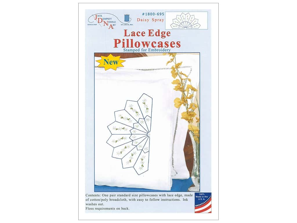 Jack Dempsey Pillowcase Lace Edge White Daisy Spray