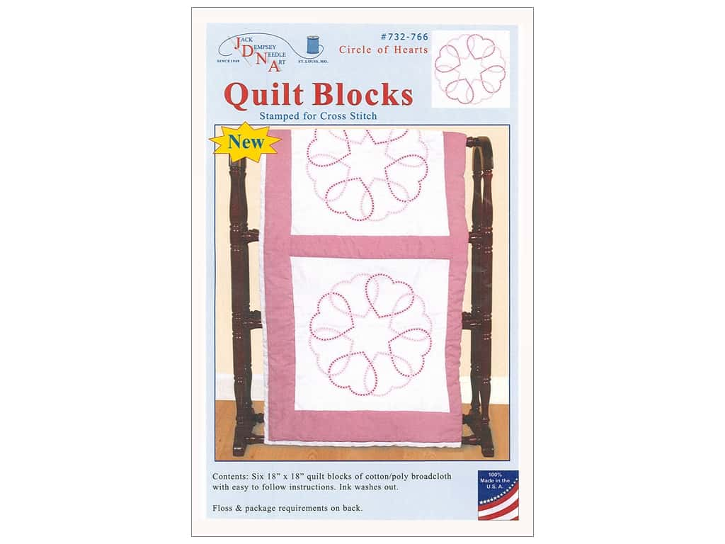 Jack Dempsey Quilt Block 18 in. White Circle of Hearts 6 pc
