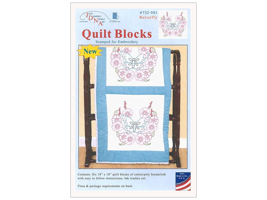 Jack Dempsey Quilt Block 18 in. White Butterfly 6 pc