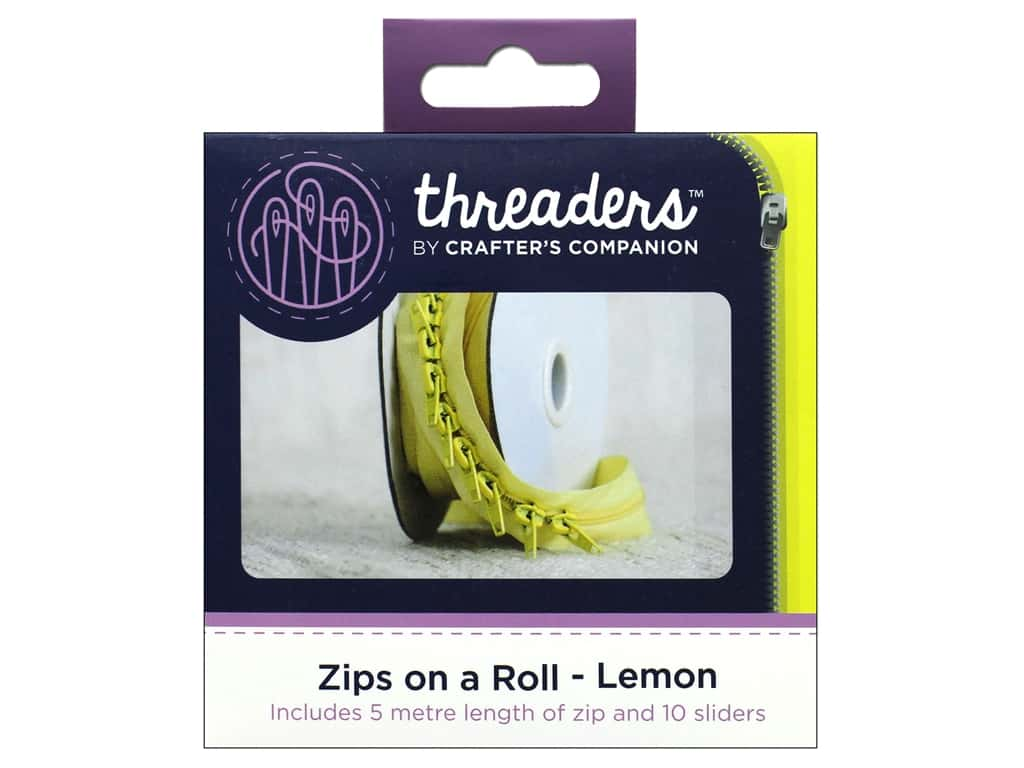Crafter's Companion Threaders Zips On A Roll Lemon