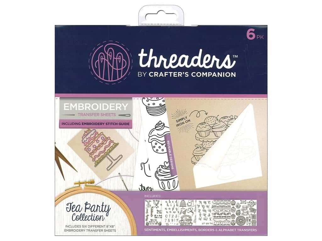 Crafter's Companion Threaders Embroidery Transfer Sheets Tea Party