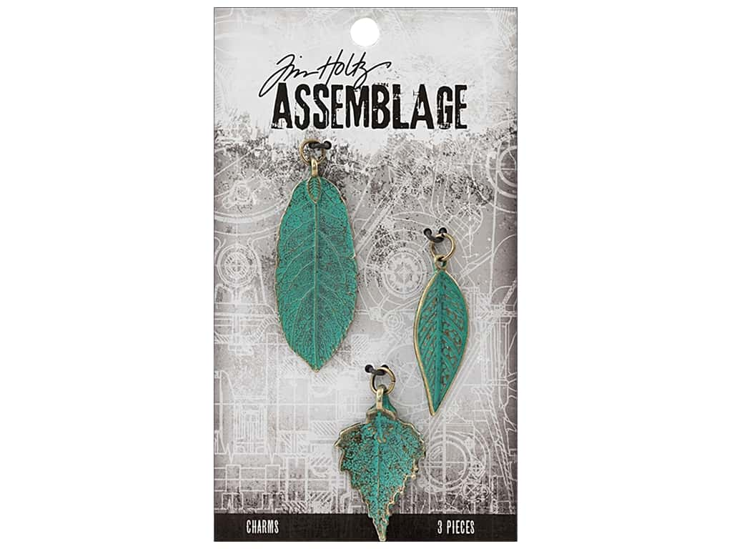 Tim Holtz Assemblage Charms Leaves Patina