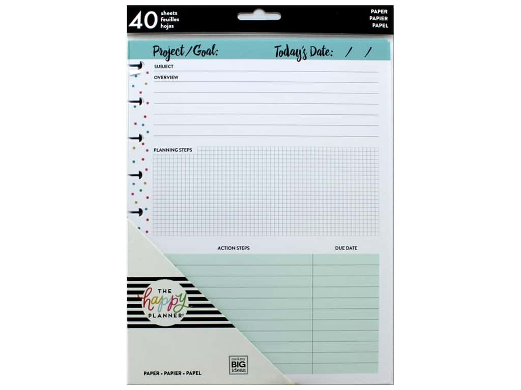 Me&My Big Ideas Happy Planner Filler Classic Project Sheets
