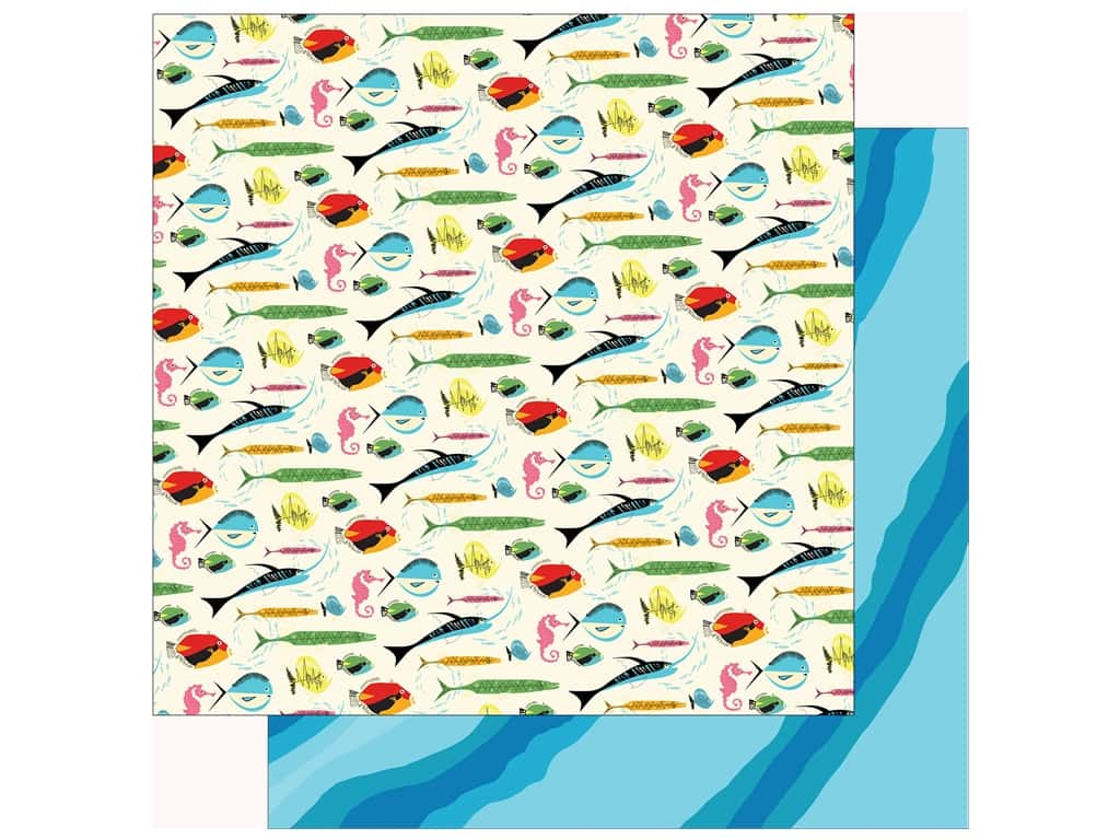 Carta Bella Collection Summer Splash Paper 12 in. x 12 in. Gone Fishing (25 pieces)