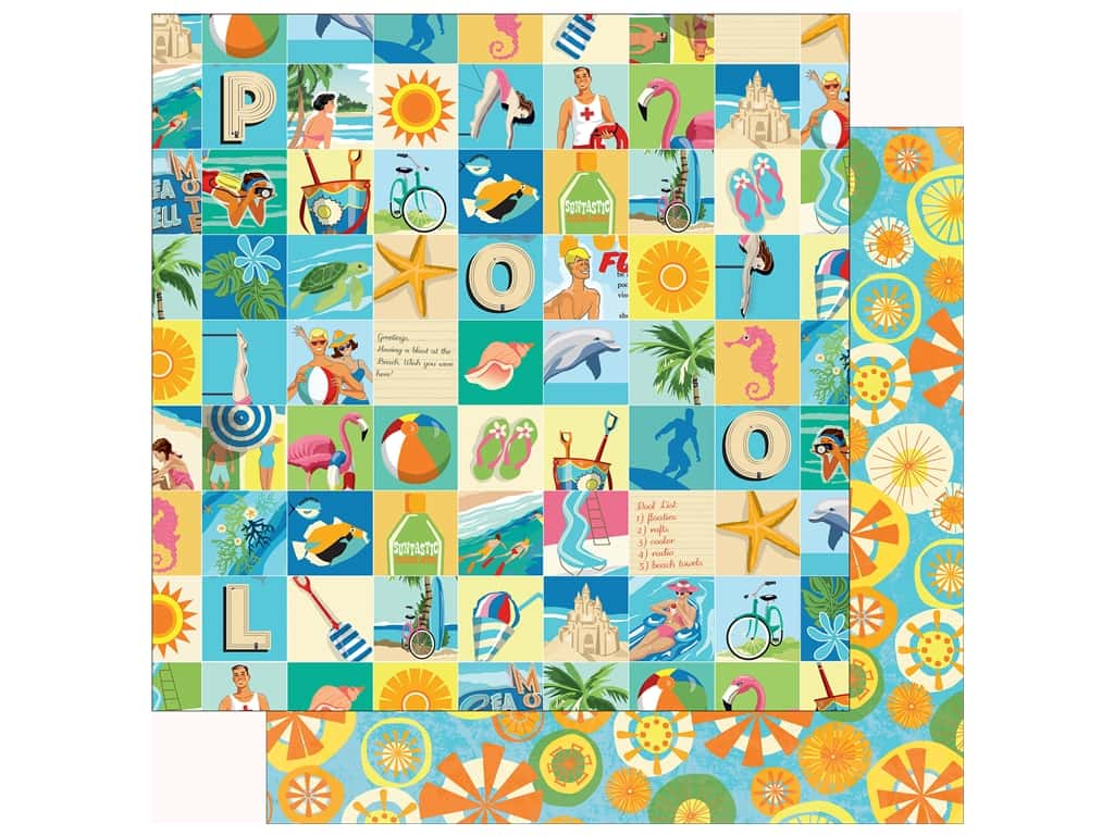 Carta Bella Collection Summer Splash Paper  12 in. x 12 in. Beach Square (25 pieces)