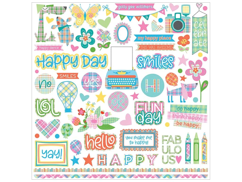 Photo Play Collection  Made 4 Plaid Happy Sticker Element 12 in. x 12 in. (12 pieces)