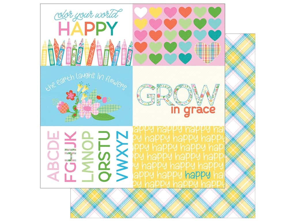 Photo Play Collection  Made 4 Plaid Happy Paper 12 in. x 12 in. Colors (25 pieces)