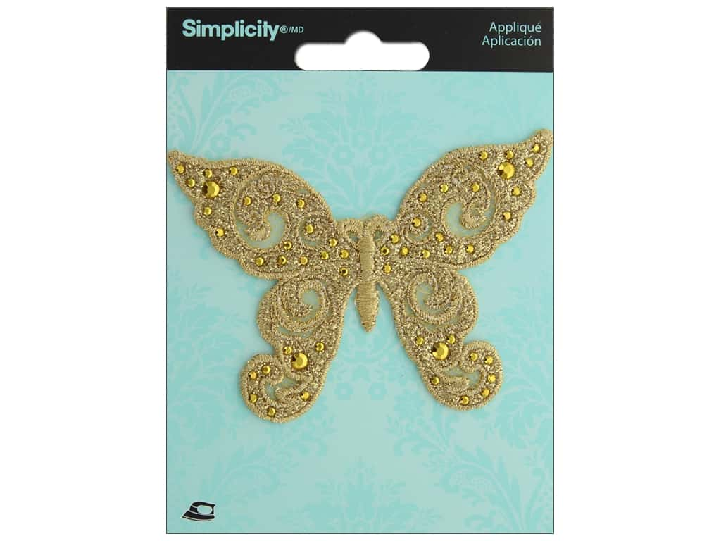 Simplicity Applique Iron On Gold Butterfly
