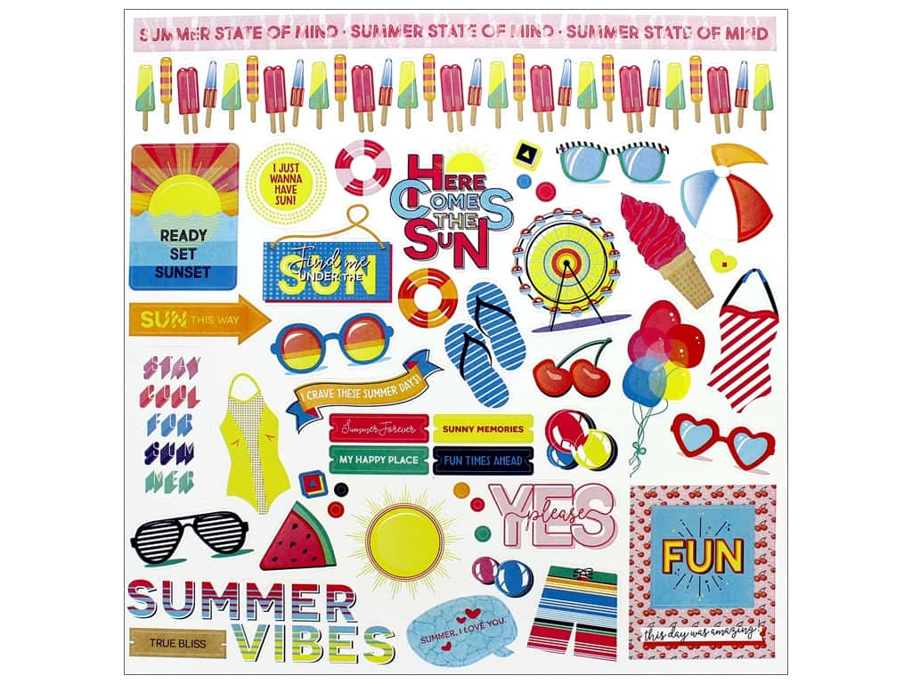 Photo Play Those Summer Days Sticker Element 12 in. x 12 in. (12 sets)