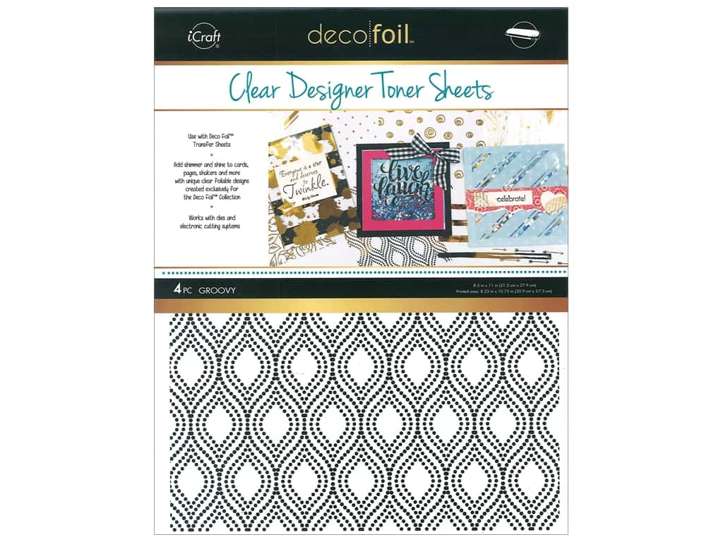 iCraft Deco Foil Clear Designer Toner Sheets 4 pc. Groovy