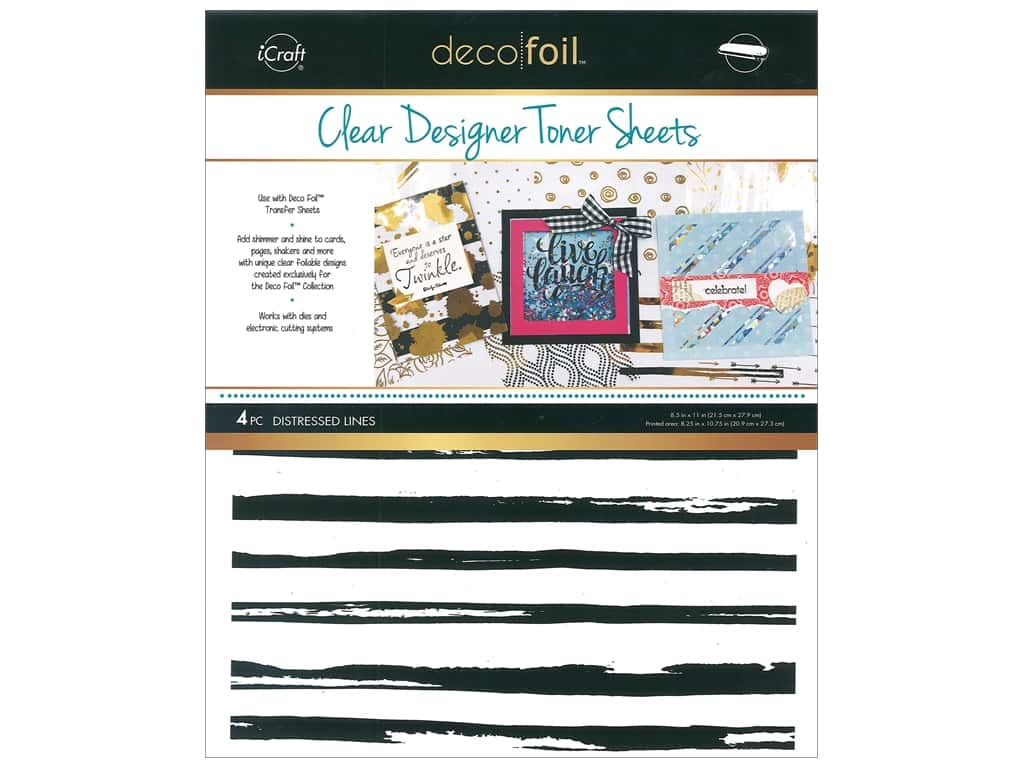 iCraft Deco Foil Toner Sheet Designer Clear Distressed Line 4 pc