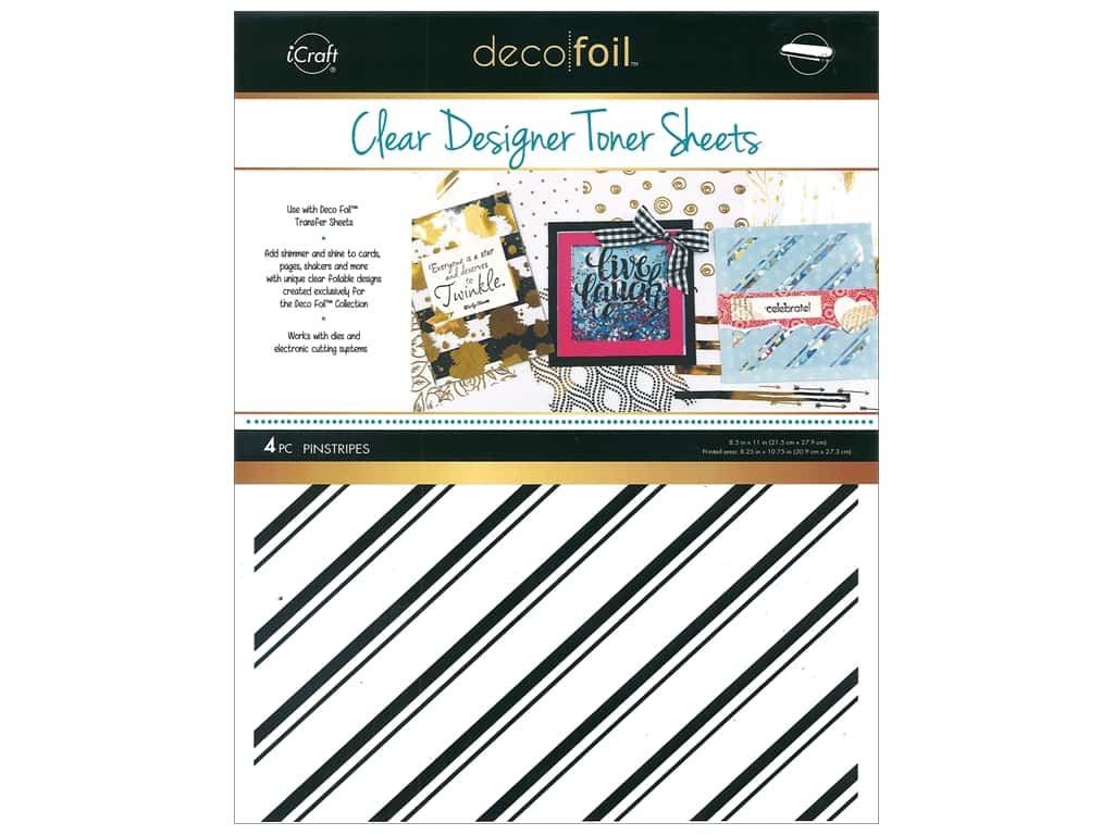 iCraft Deco Foil Clear Designer Toner Sheets 4 pc. Pinstripe