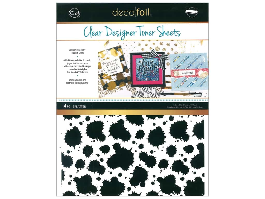iCraft Deco Foil Toner Sheet Designer Clear Splatter 4 pc