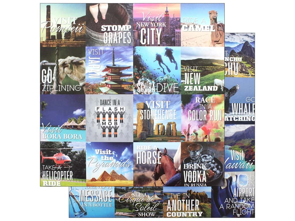 Reminisce Collection Bucket List Paper 12 in. x 12 in. Check It Off (25 pieces)