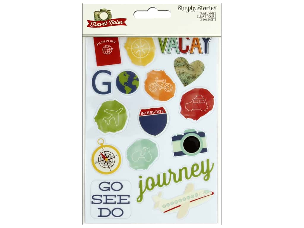 Simple Stories Collection Travel Notes Sticker Clear