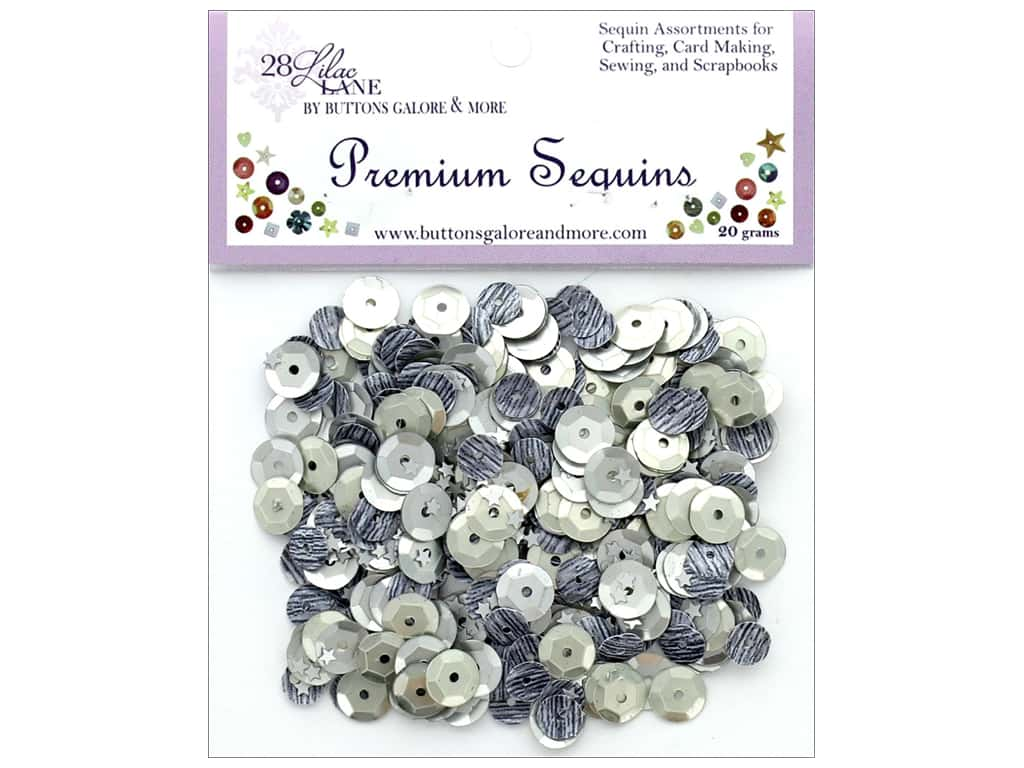 Buttons Galore 28 Lilac Lane Premium Sequins Grayscale
