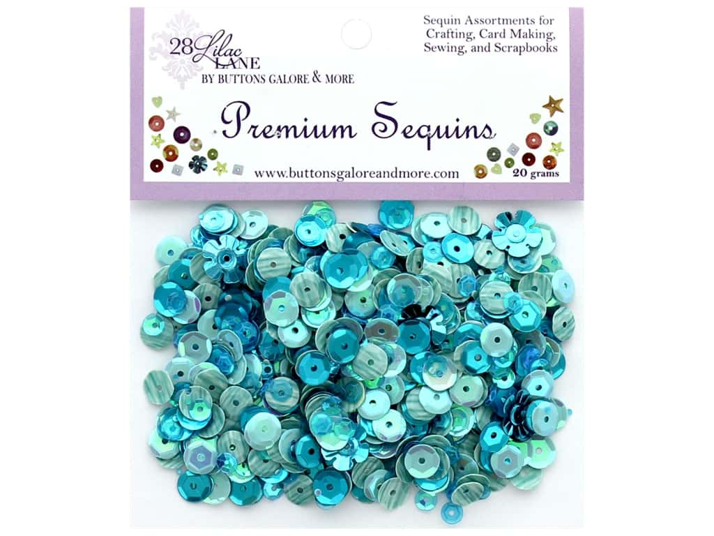 Buttons Galore 28 Lilac Lane Premium Sequins Turquoise