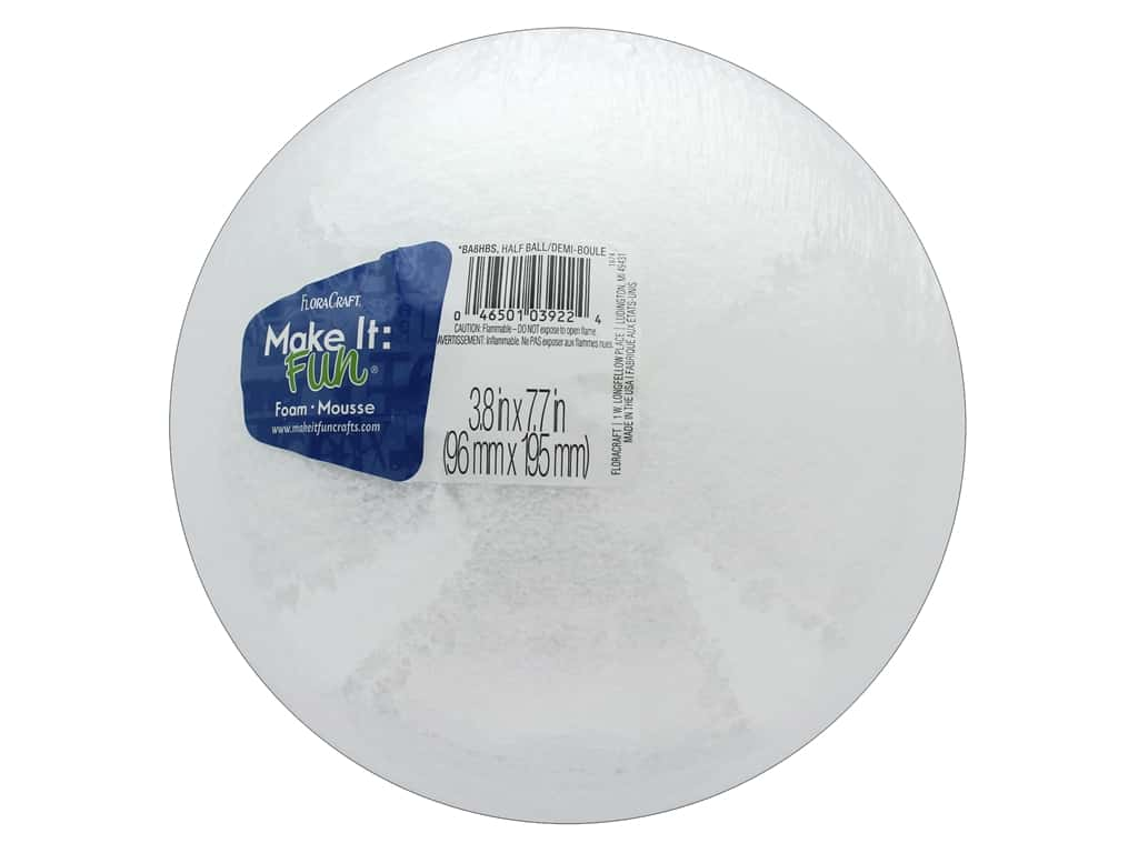 FloraCraft Styrofoam Half Ball 8 in. White