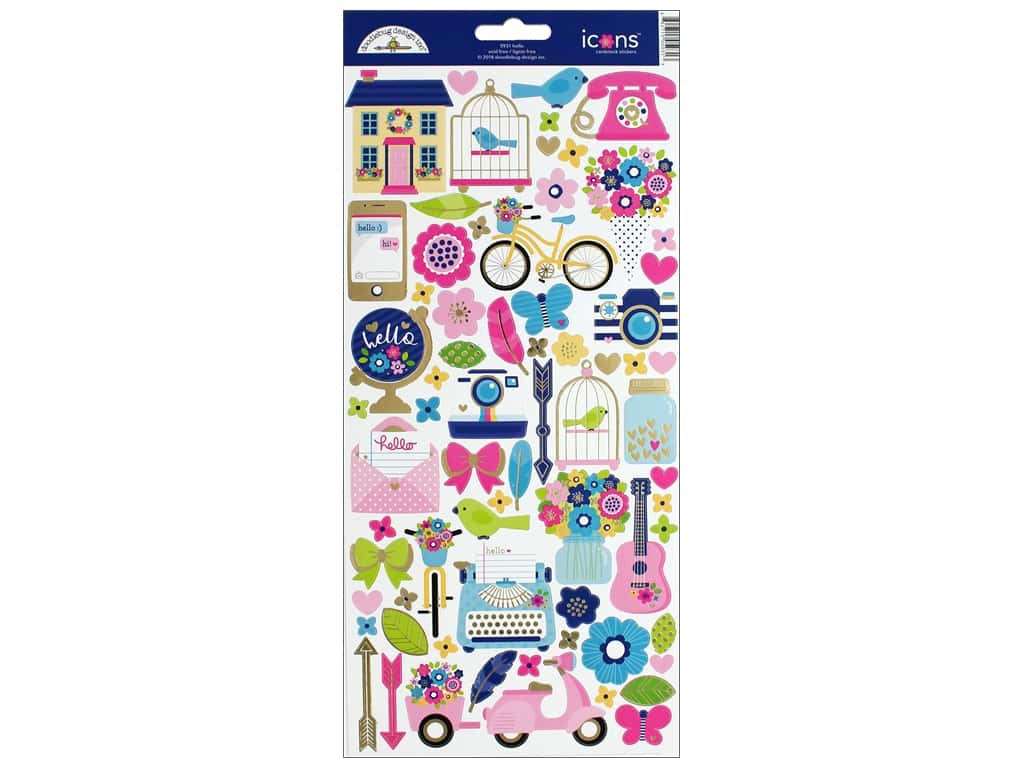 Doodlebug Collection Hello Sticker Icons (12 sets)