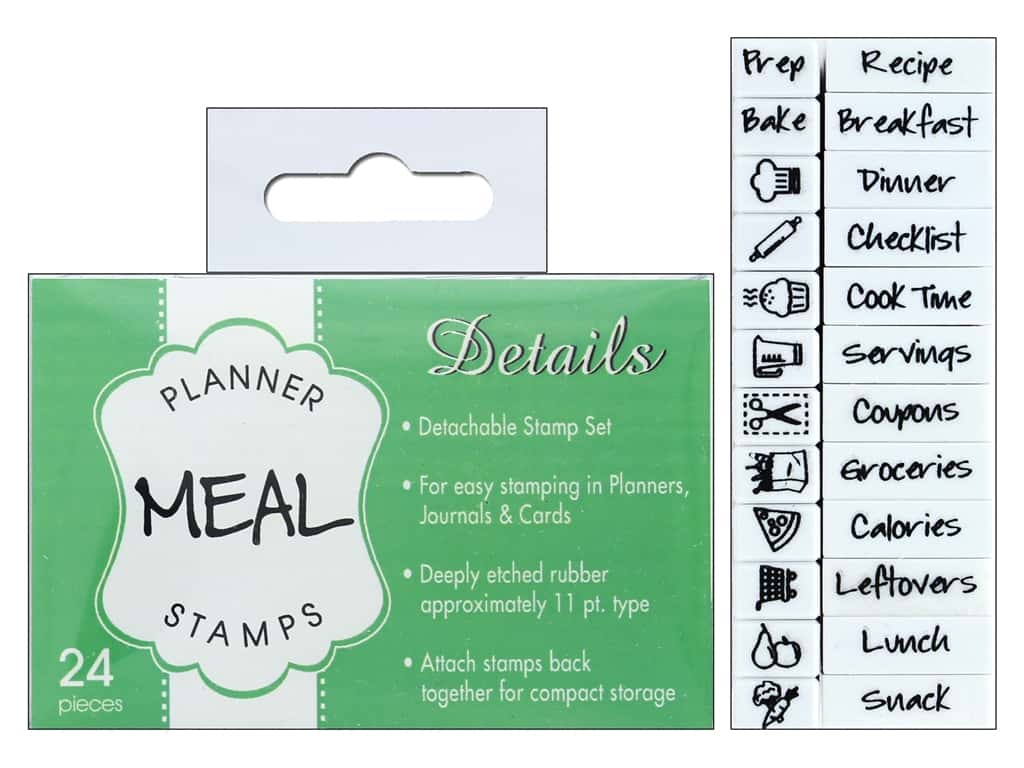 Contact USA Clickable Stamp Set Planner Details Meal 24 pc