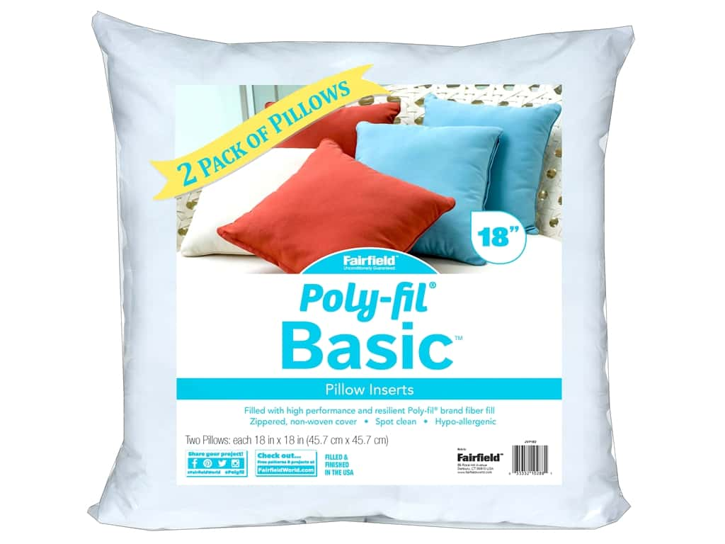 Fairfield Pillow Form Basic Insert 18 in. x 18 in.  2 pc.
