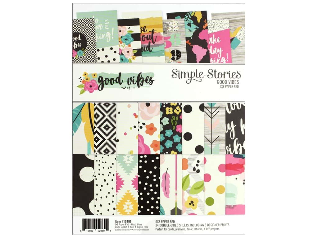 Simple Stories Collection Good Vibes Paper Pad 6 in. x 8 in.
