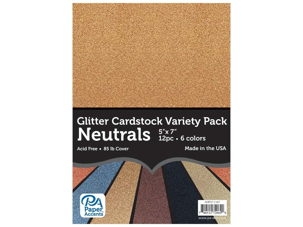 Paper Accents Glitter Cardstock Variety Pack 5 x 7 in. Neutrals 12 pc.