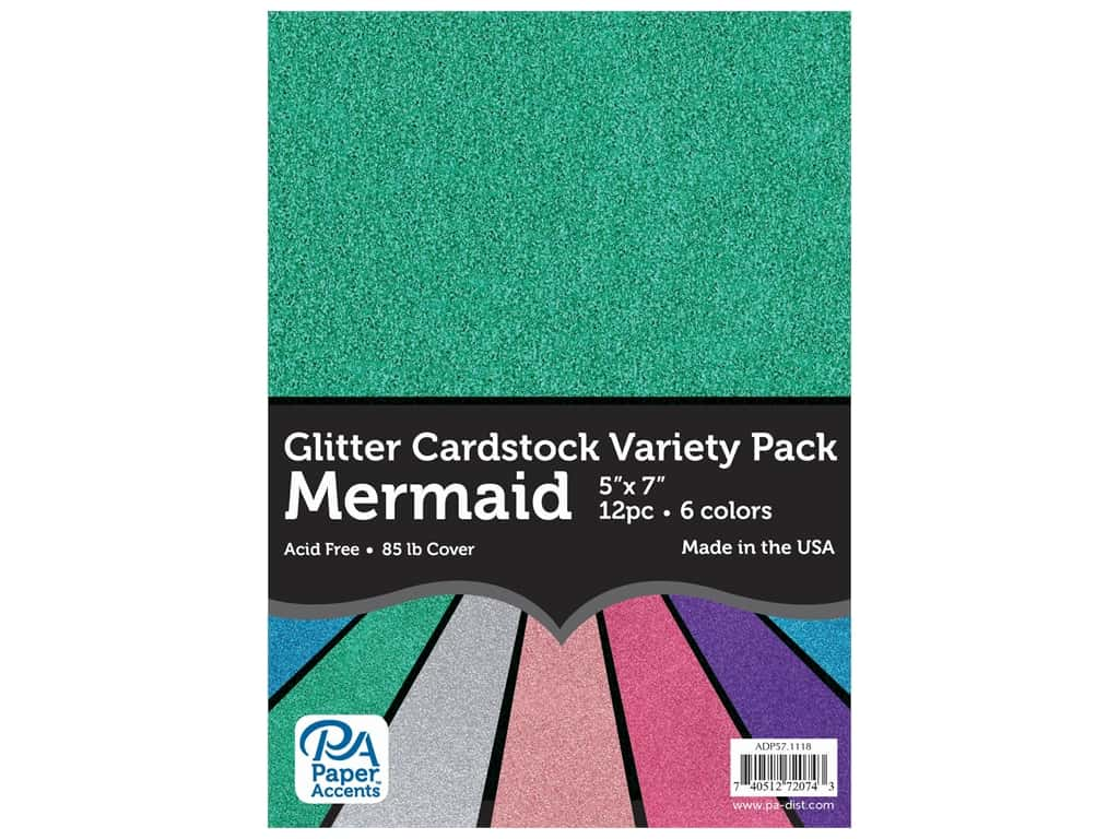 Paper Accents Glitter Cardstock Variety Pack 5 x 7 in. Mermaid 12 pc.