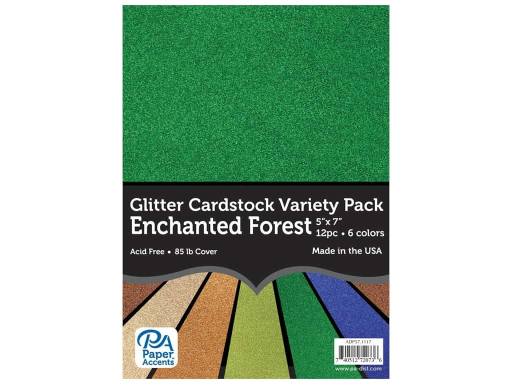 Paper Accents Glitter Cardstock Variety Pack 5 x 7 in. Enchanted Forest 12 pc.