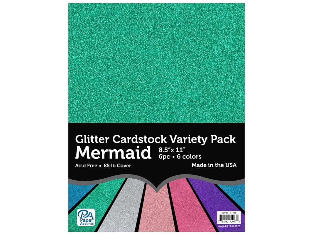 Paper Accents Glitter Cardstock Variety Pack 8 1/2 x 11 in. Mermaid 6 pc.