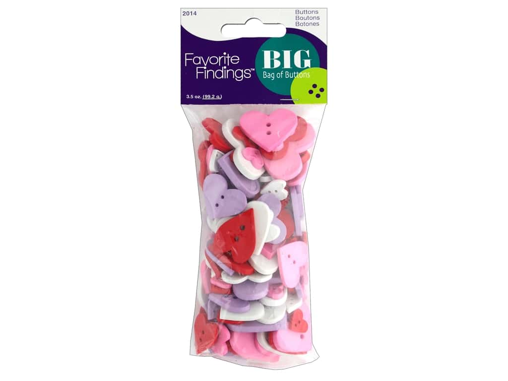 Blumenthal FF Big Bag Of Buttons 3.5oz Pastel Hrts