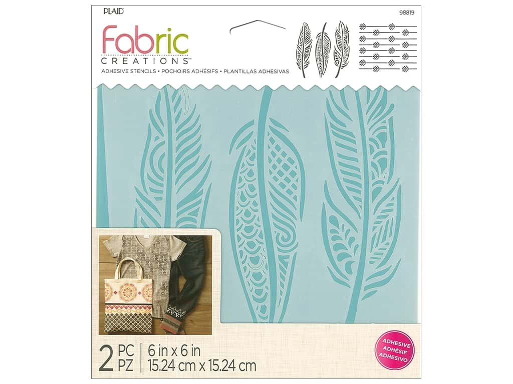 Plaid Fabric Creations Adhesive Stencils 6 x 6 in. Feather
