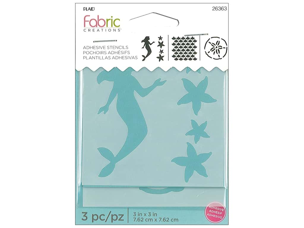 Plaid Fabric Creations Adhesive Stencils 3 x 3 in. Mermaid