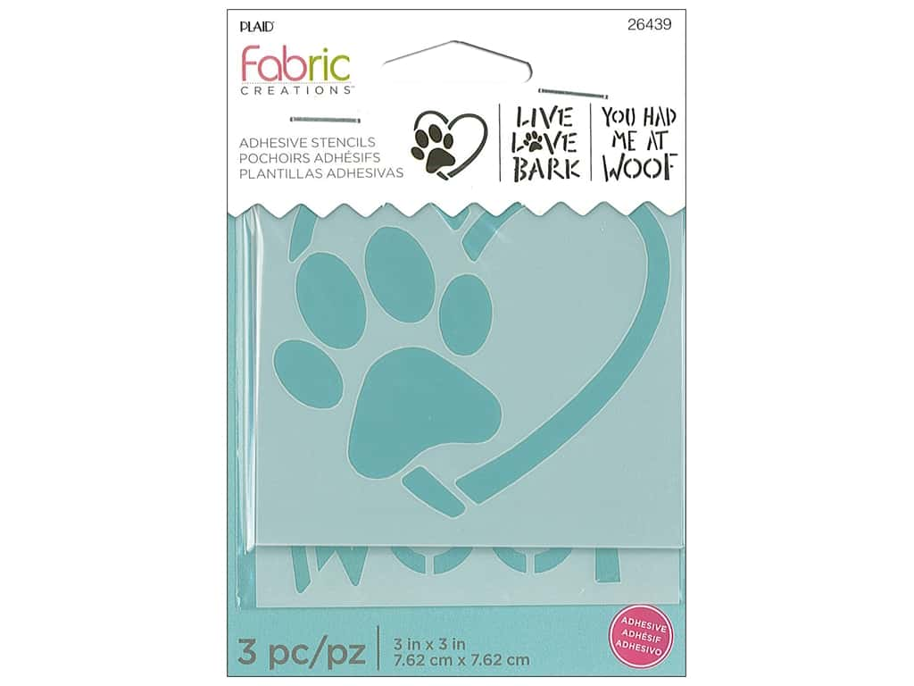 Plaid Fabric Creations Adhesive Stencils 3 x 3 in. Dog