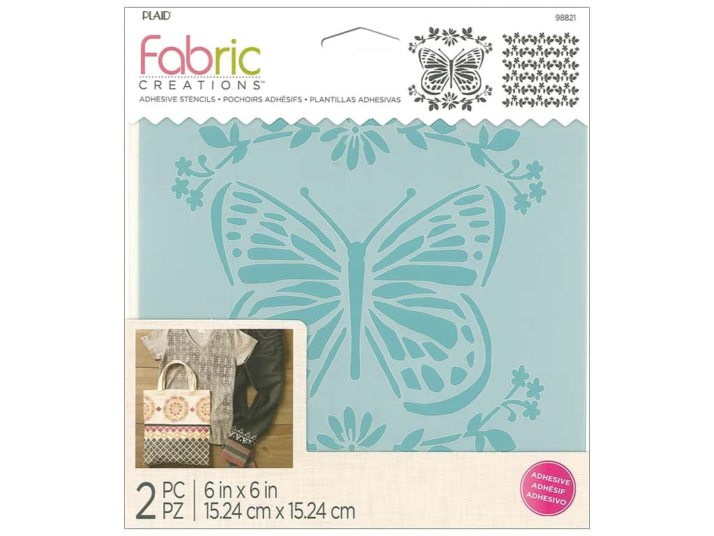 Plaid Fabric Creations Adhesive Stencils 6 x 6 in. Butterfly
