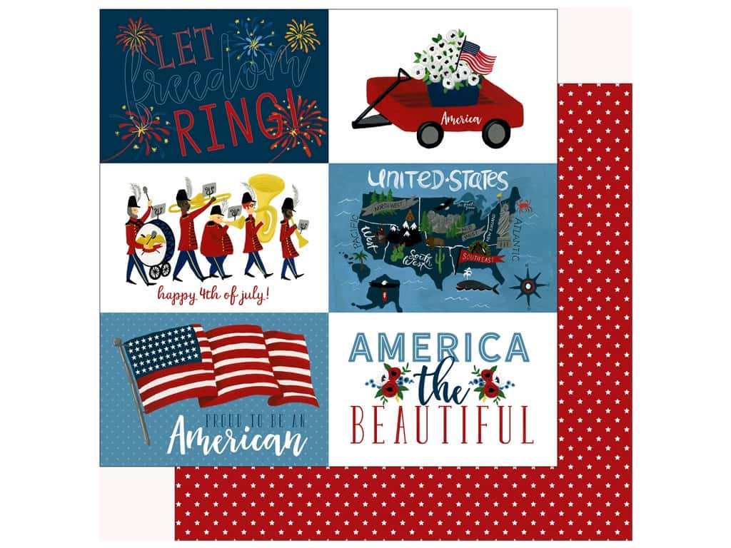 Echo Park Collection Celebrate American Paper 12 in. x 12 in.  Journaling Cards 4 in. x 6 in. (25 pieces)