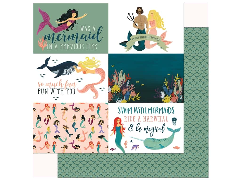 Echo Park Collection Mermaid Tales Paper 12 in. x 12 in. Journal Cards 4 in. x 6 in. (25 pieces)