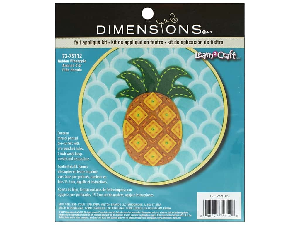 Dimensions Applique Kit Learn A Craft 6 in. Felt Pineapple