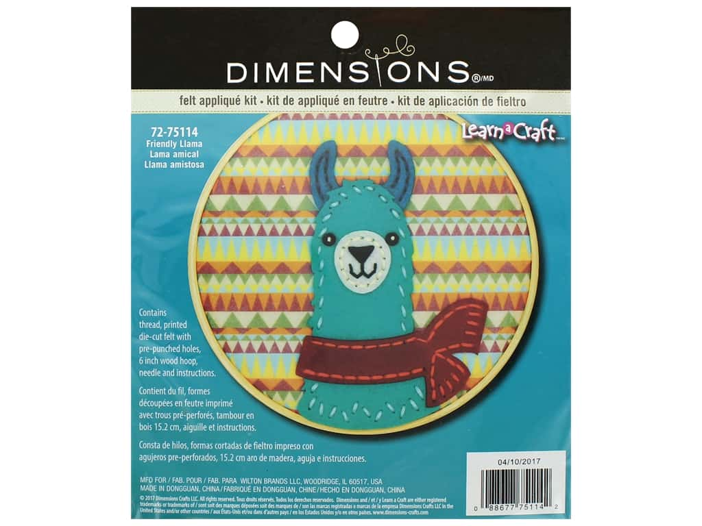 Dimensions Applique Kit Learn A Craft 6 in. Felt Friend Llama