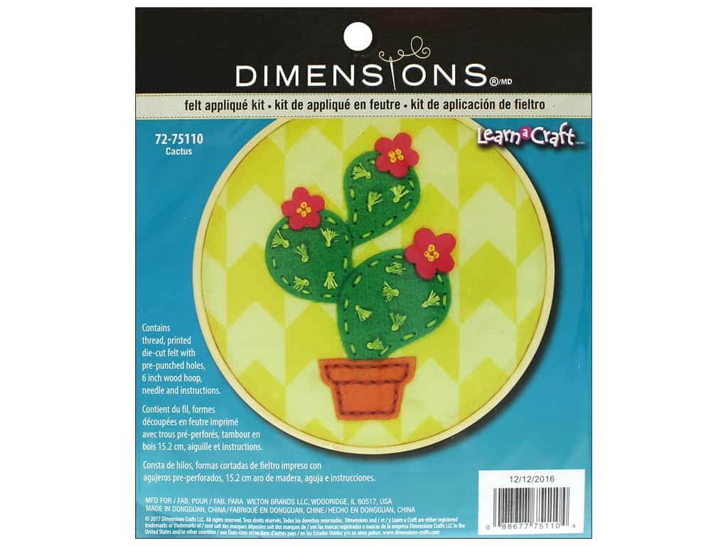Dimensions Applique Kit Learn A Craft 6 in. Felt Cactus