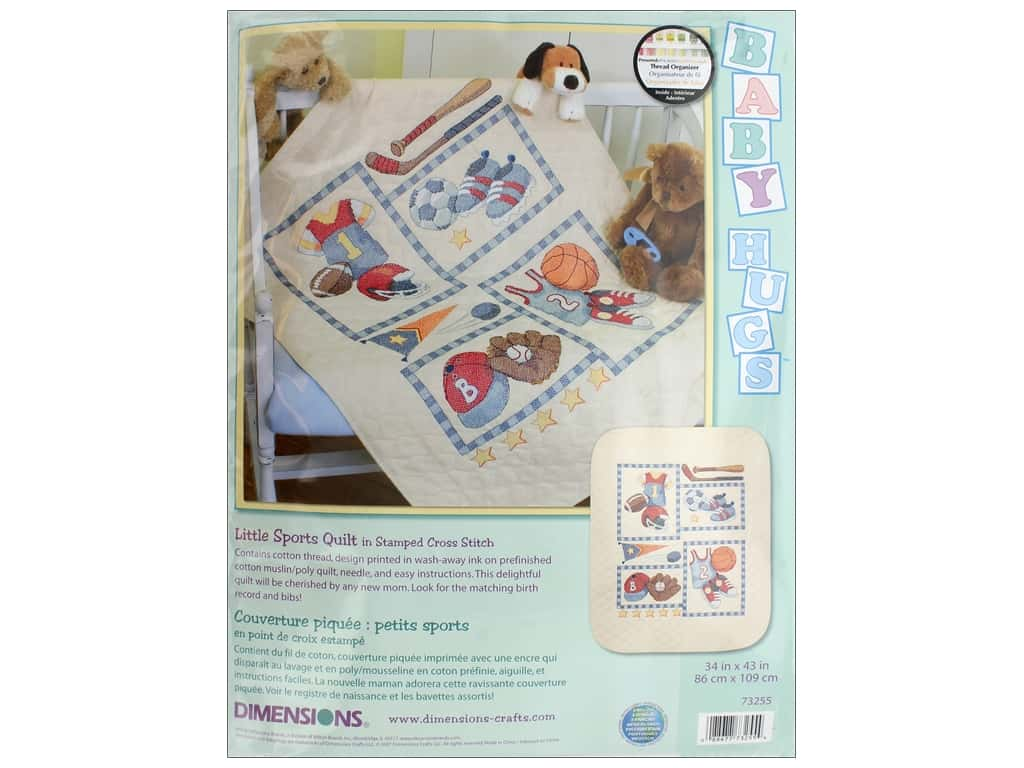 Dimensions Stamped Cross Stitch Kit 34 x 43 in. Little Sports Quilt