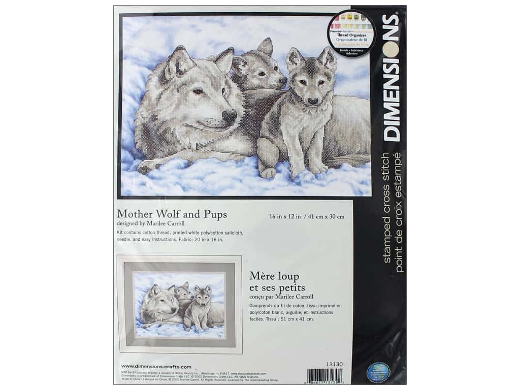 Dimensions Stamped Cross Stitch Kit 16 x 12 in. Mother Wolf & Pups