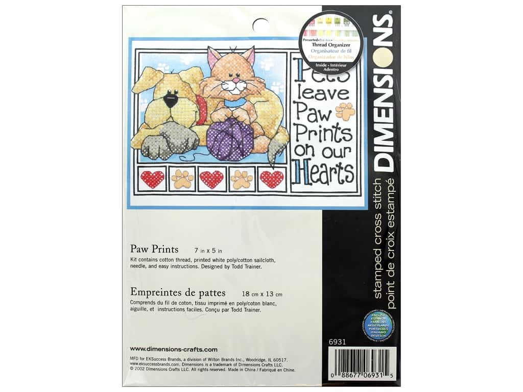 Dimensions Stamped Cross Stitch Kit 7 x 5 in. Paw Prints