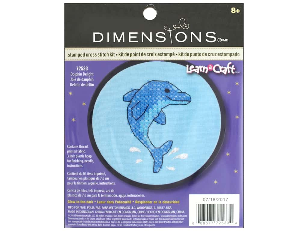 Dimensions Stamped Cross Stitch Kit 3 in. Dolphin Delight