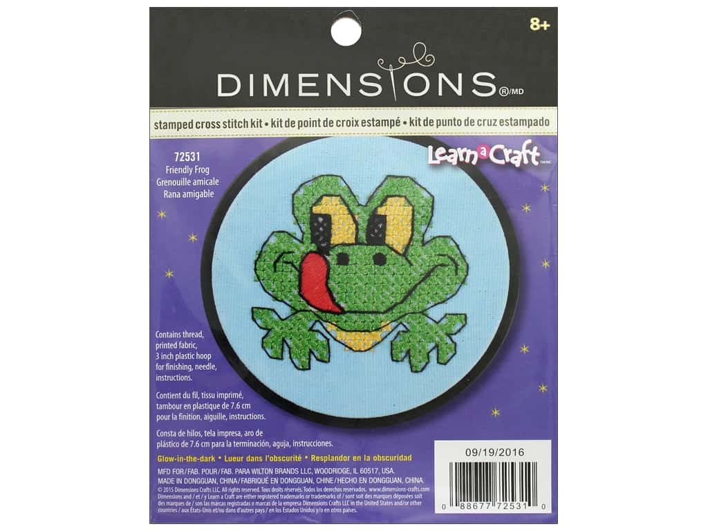 Dimensions Stamped Cross Stitch Kit 3 in. Friendly Frog