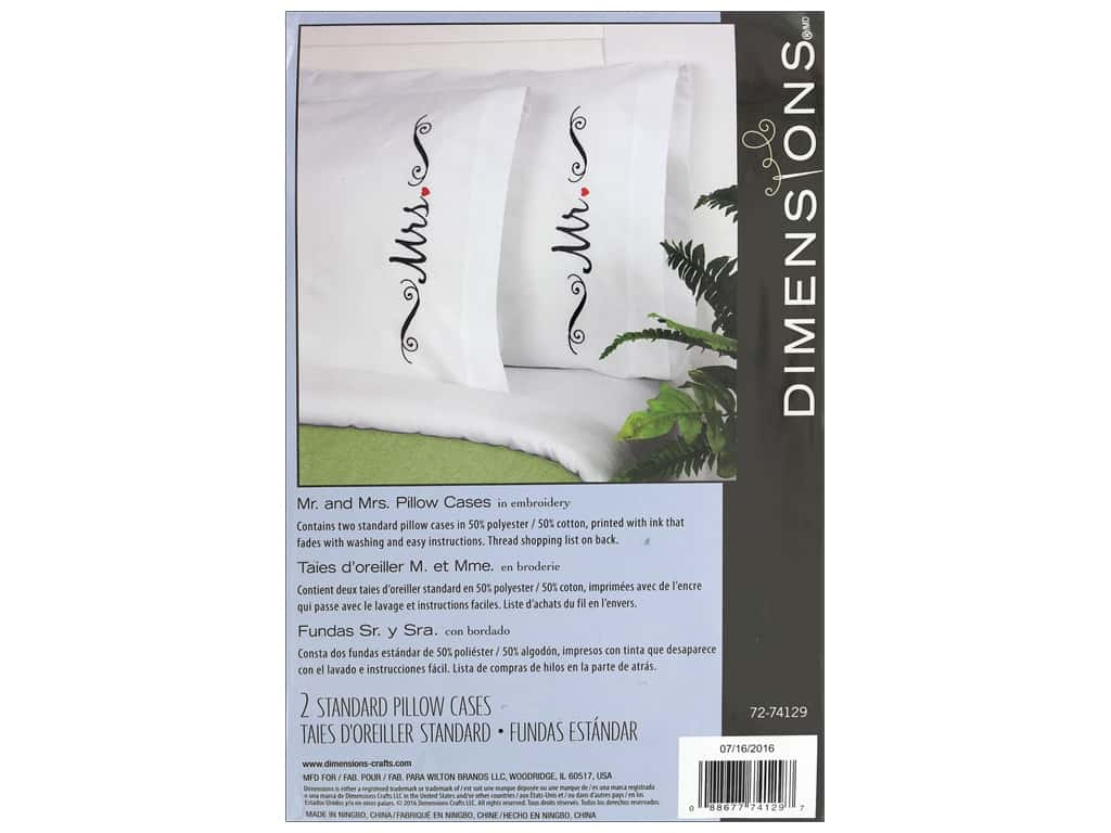 Dimensions Embroidery Kit Pillow Case Mr & Mrs 2 pc