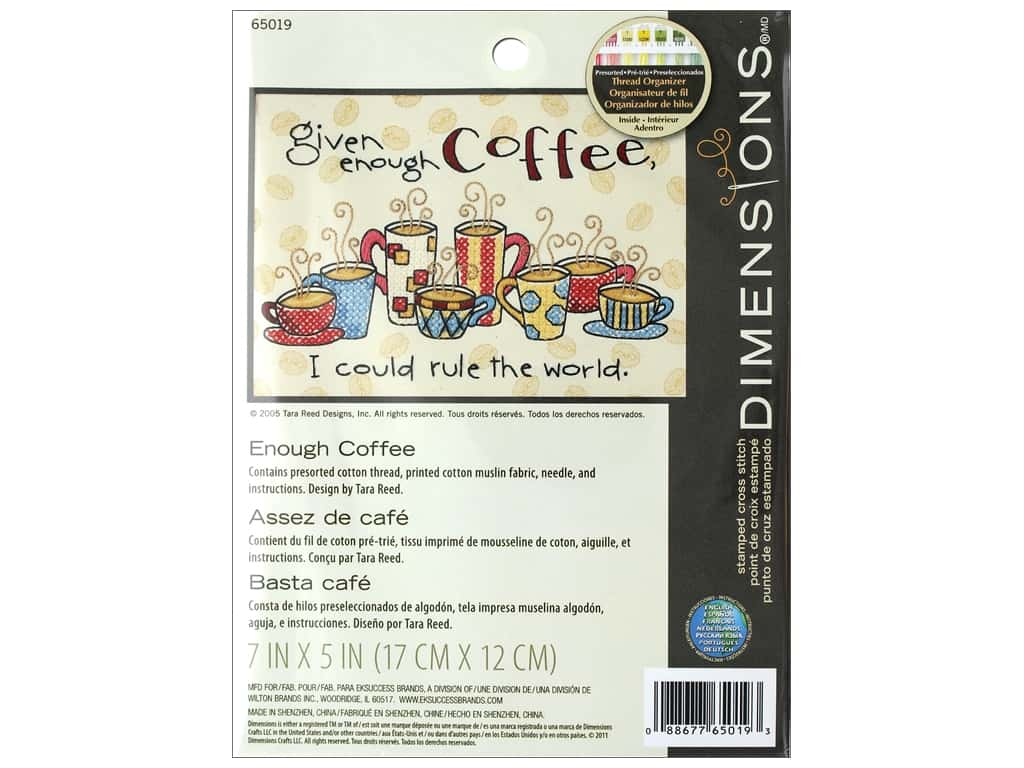 Dimensions Stamped Cross Stitch Kit 7 x 5 in. Enough Coffee